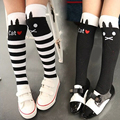 2015 girls knee high socks Lovely Fashion Children Girl's Letter Cat Black Leg Warmers Stockings 7 Colors cotton tights kids