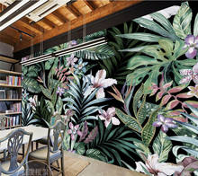 Beibehang Custom Wallpaper Hand painted European Pastoral Tropical Rainforest Southeast Asia Mural TV Wall Background