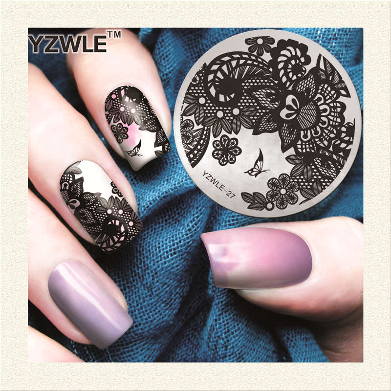 Professional YZWLE Nail Art Stamper 5.6cm Round Butterfly Vine Design Image Template Nail Art Stamping Plate For Manicure