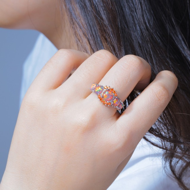 CiNily Orange Fire Opal Orange Garnet Silver Plated Ring Wholesale Wedding Party Gift for Women Jewelry Ring Size 5-12 OJ4576 1