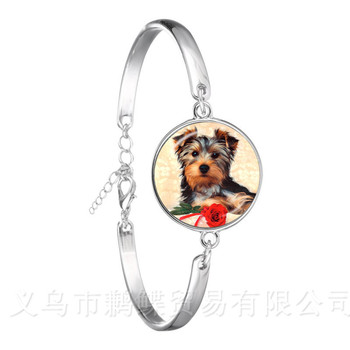 Agile Dog Bracelet French Bulldog Cocker Spaniel Look Like Cute Cuddly Silver Plated Chain Bangle Glass Dome Men Women Jewelry image