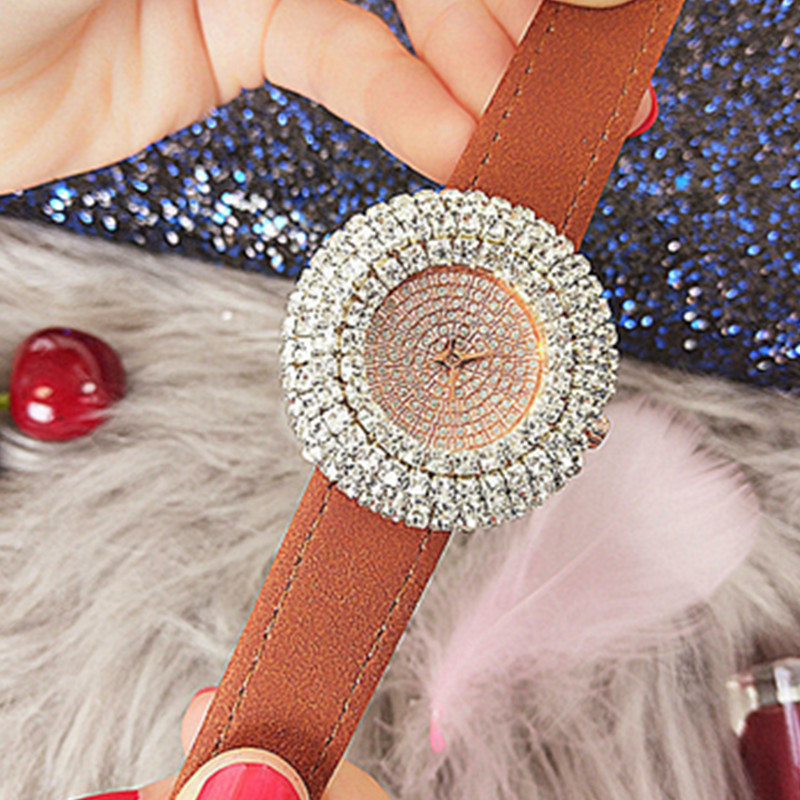 Fashion Women Quartz Rhinestone Watches Genuine Leather Watchband Strap Fully Rhinestone Lady Waterproof Wristwatch in Women 39 s Watches from Watches