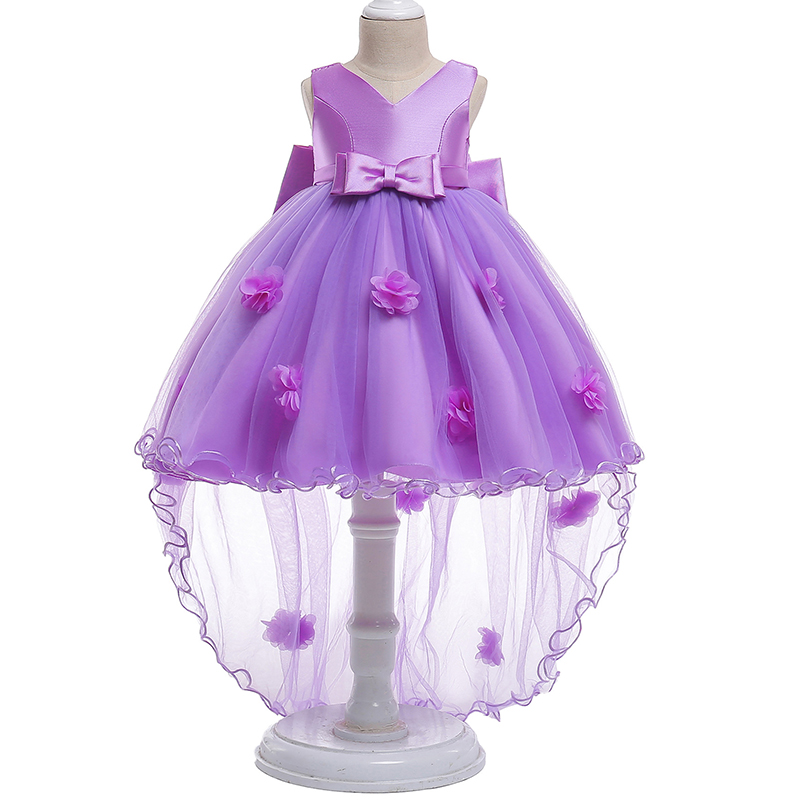Retail Appliques V-Neck Ruffled   Flower     Girls     Dress   With Big Bow Mesh Elegant Princess Long Trailing   Dress   Party Ball Gown L555