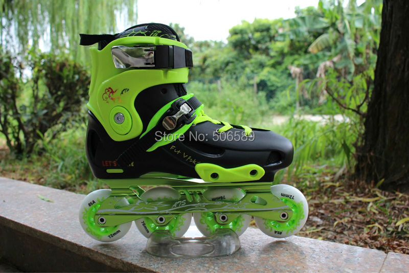 free shipping roller skates adult 85A wheel CNC frame green purple color купить