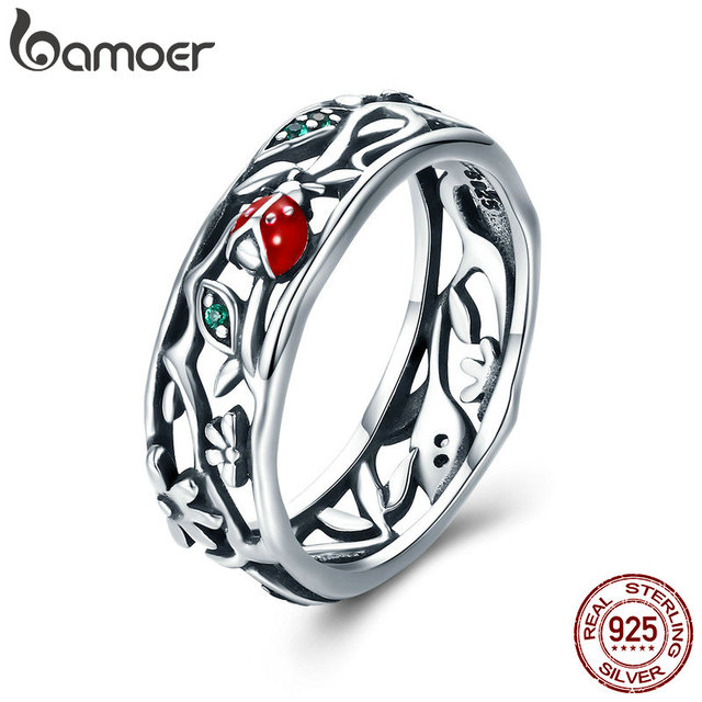 BAMOER Hot Sale Authentic 925 Sterling Silver ladybug with Twisted Tree Leaves R