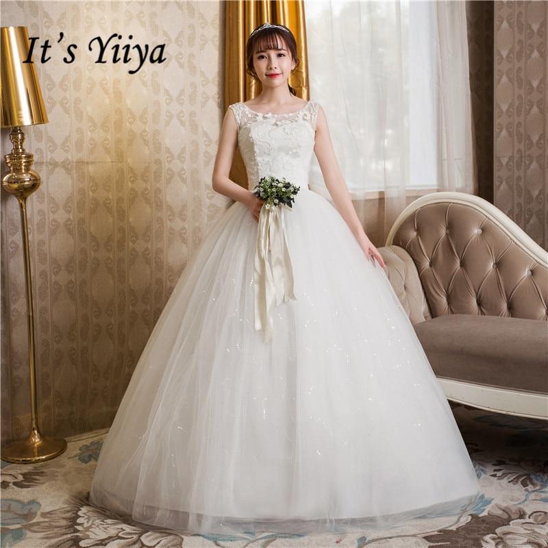 Free Shipping 2017 Plus size O-neck White Tulle Cheap Lace wedding Dresses Princess Bride Gowns Frock Vestidos De Novia HS246