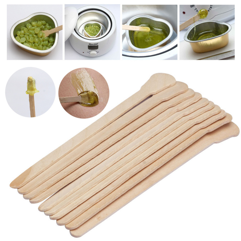 100 Pcs Holz Wachsen Wachs Spachtel Zunge Einweg Bambus Sticks Haar Entfernung Creme Stick Für Körper Haarpflege Entfernung Sticks