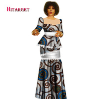 Hitarget 2019 New African Wax Print Clothes for Women Dashiki Traditional Cotton Top Skirt Set of 2 Piece Dashiki Dress WY2936