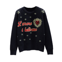 Autumn Winter Sweater Women Long Sleeve Pullovers Women Luxury Sweaters Women Embroidered Sequined Bead Jacquard Knit Tops Femme