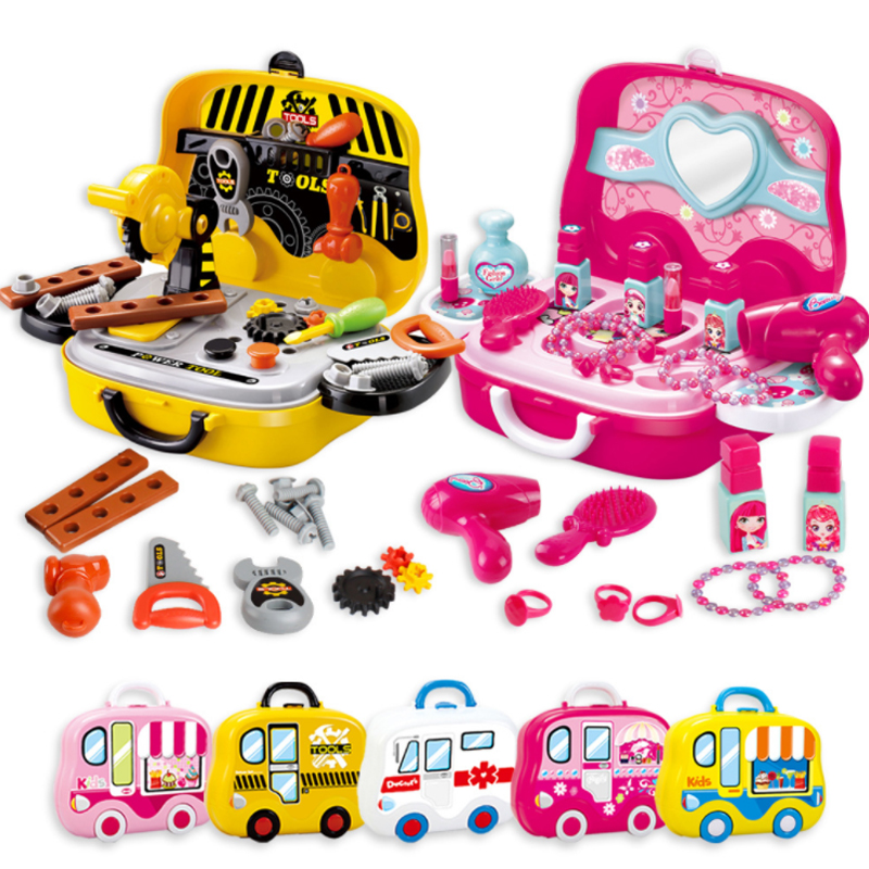 New 1 Set Pretend Play Kitchen Set Cookware Kitchen Toy Simulation Cooking Dressing Suitcase Tools Doctor Kids Plastic Toy D19