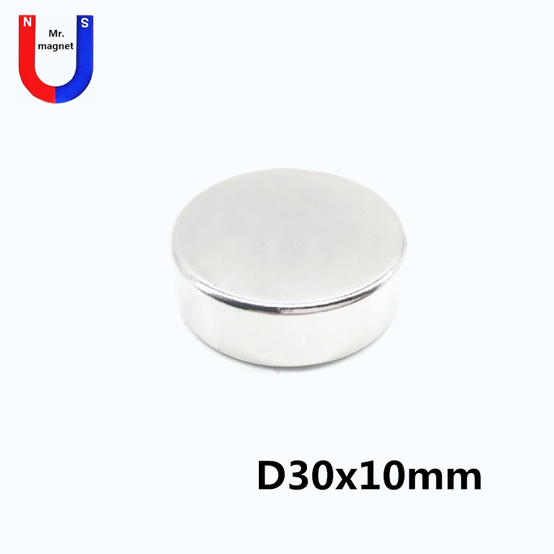2pcs <font><b>30x10</b></font> <font><b>Neodymium</b></font> <font><b>magnet</b></font> N50 Dia 30mm X 10mm Strong <font><b>Magnets</b></font> Tiny Disc NdFeB 30*10 Rare Earth For Crafts Model Fridge Sticking image