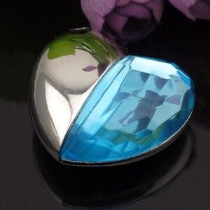 Skyblue Crystal Heart 64GB 32GB 16GB Jewelry Pendrive 512 GB Usb Flash Drive 1TB 2TB Jewelry Usb Memory Stick Creativo Pen Drive
