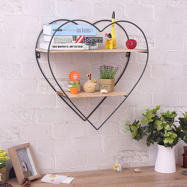 Peach Wrought Iron Wooden Wall Shelf Racks Vintage Solid Wood Wall