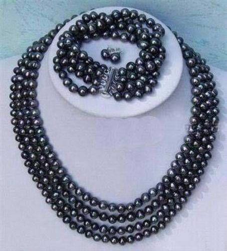Livraison gratuite>>>>>> plus noble 4 rangées 6-7mm collier de perles noires bracelet boucles d'oreilles ensembles BV172