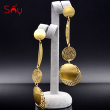 Sunny Jewelry Fashion Jewelry 2019 Women's Long Drop Dangle Earrings Exquisite Jewelry Moon Circle For Wedding Party Daily Gift(China)