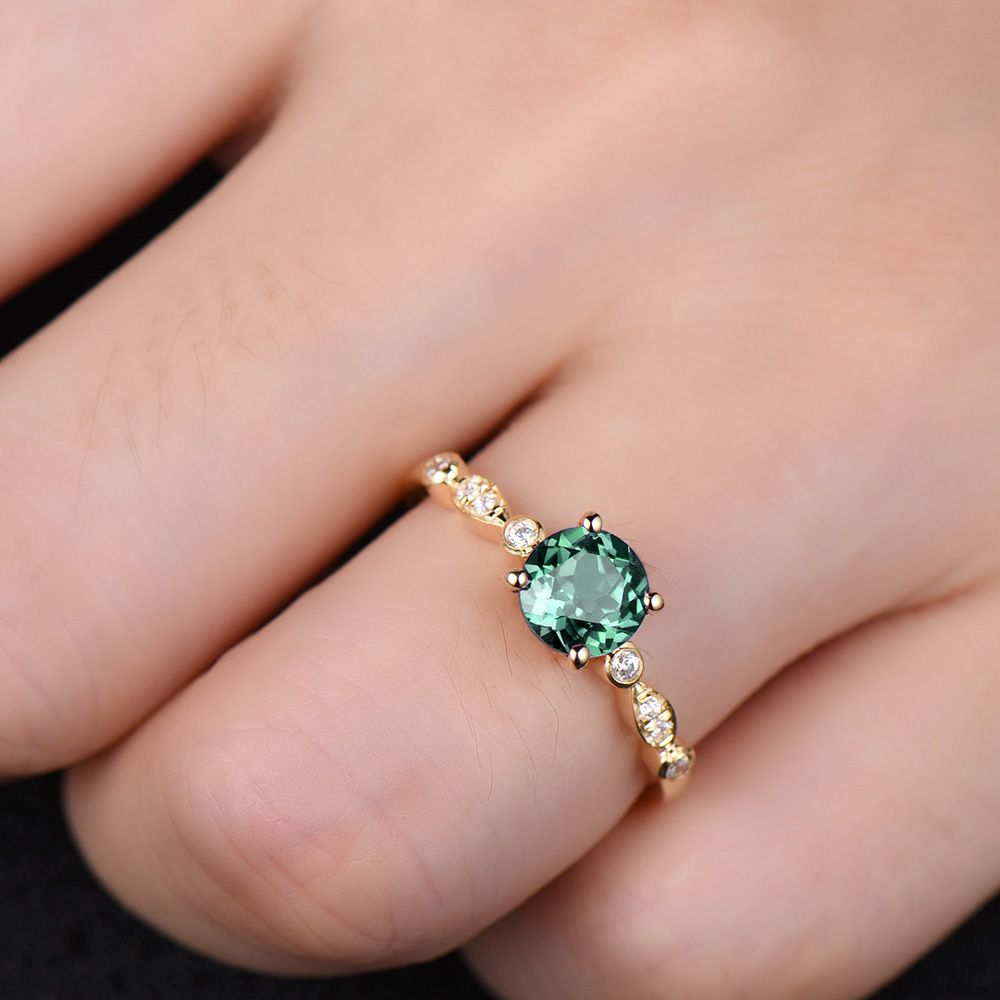 Alexandrite Color Change Engagement Ring 14k Yellow Gold Diamond ...