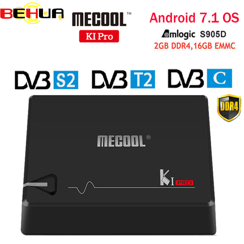 MECOOL KI PRO TV Box KI PRO S2+T2 DVB Amlogic S905D Quad 2G+16G Support DVB-T2&S2/DVB-T2/DVBS2 Set Top Box Android 7.1 TV Box android box iptv stalker middleware ipremuim i9pro stc digital connector support dvb s2 dvb t2 cable isdb t iptv android tv box