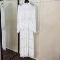 Белый с длинным рукавом платье сельских Стиль, мода, новый Для женщин платья