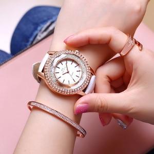 Image 2 - Dropship New Fashion Ladies Leather Crystal Diamond Rhinestone Watches Women Beauty Dress Quartz Wristwatch Hours Reloj Mujer
