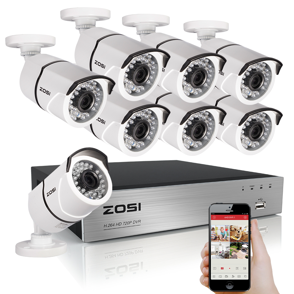 ZOSI 8CH CCTV System 1080P HDMI TVI 8CH DVR 8PCS 2.0 MP IR Outdoor Security Camera 3000TVL Camera Surveillance System zosi 8ch cctv system 1080n hdmi tvi cctv dvr 8pcs 720p ir outdoor security camera 1280 tvl camera surveillance system
