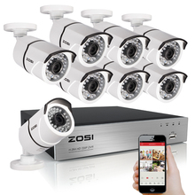 ZOSI 8CH CCTV System 1080P HDMI TVI 8CH DVR 8PCS 2.0 MP IR Outdoor Security Camera 3000TVL Camera Surveillance System