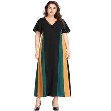 Vestido Summer Dress Woman XL-5XL Large Size Dress V Neck Contrast Color Short Sleeve Femme Plus Size Long Dress HY88061 недорого