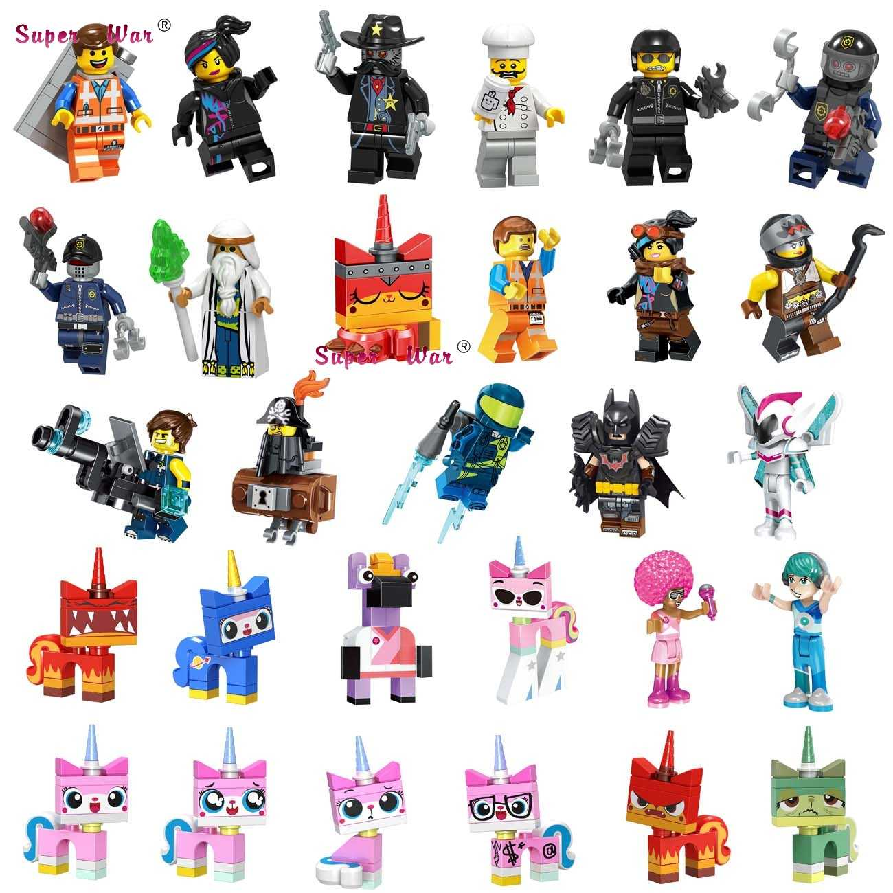 Single Building Blocks MOVIE 2 Series Emmet REX Ultrakatty  Lucy batman Metalbeard  Sweet Mayhem toys for children