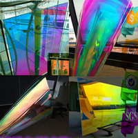 68cm x 30m Self Adhesive Dichroic Rainbow Solar Tint Window Film for Building Glass