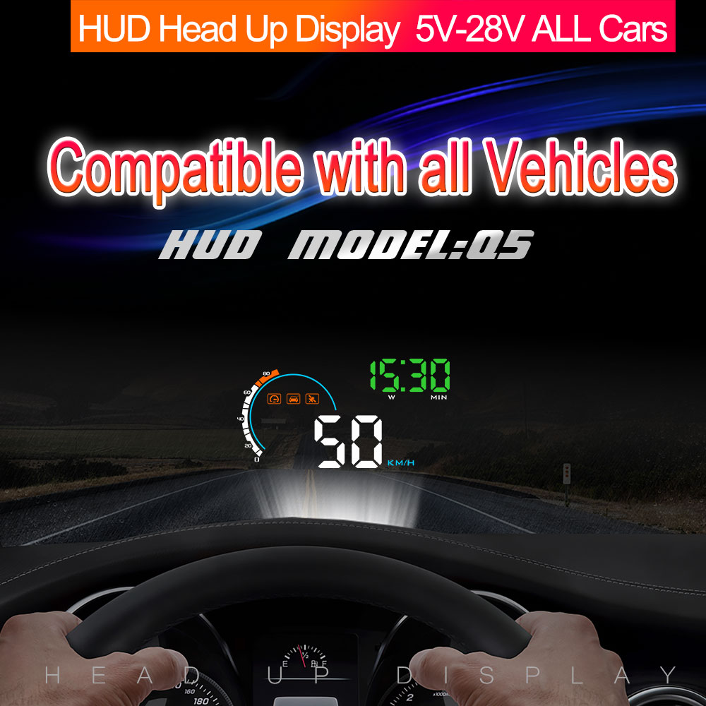 "Image 3 - 2018 New 4"" Car HUD GPS Head Up Display Speedometers Overspeed Warning Monitor For Q5 New Cigarette Lighter-in Head-up Display from Automobiles & Motorcycles"