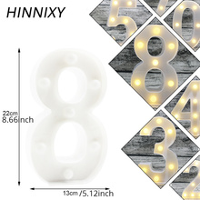 Hinnixy LED 3D Number  Decoration Night Light 0-9 Arabic Numerals White Kids White Bedside lamp Anniversary Valentine's Gift