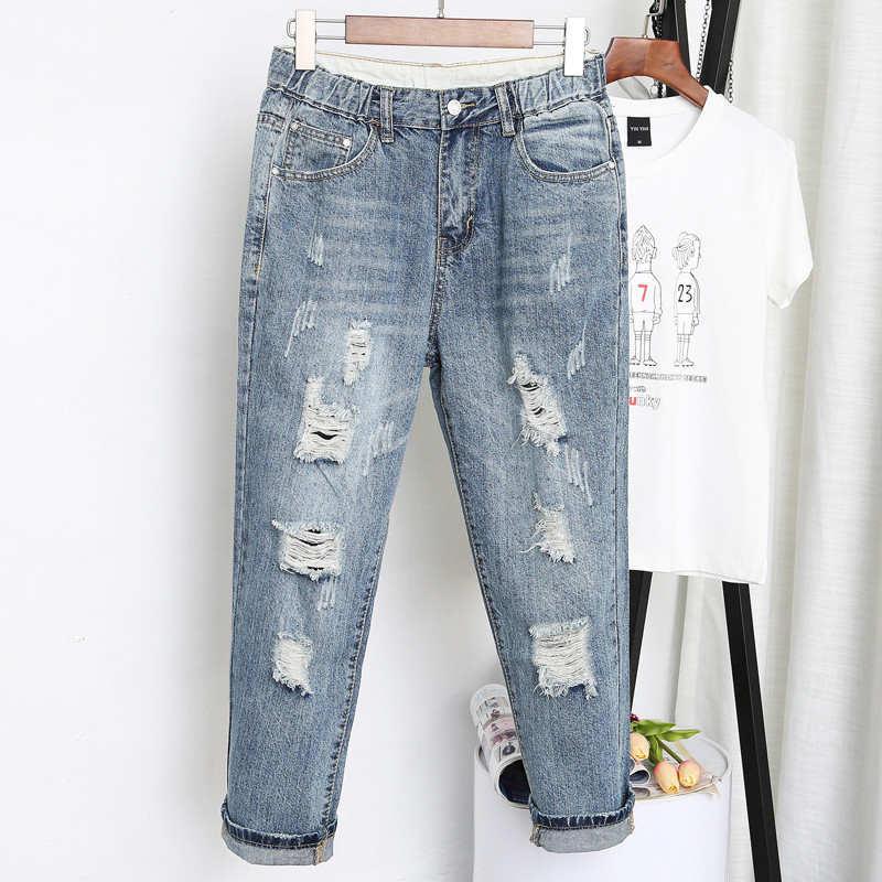 5XL Women High Waist   Jeans   Denim Harem Pants Ripped Hole Stretch Washed   Jeans   Plus Size Vintage Ladies Trousers Denim   Jeans   Q364