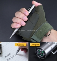 Titanium TC4 150mm Long Tactical Rollerball Pen 45g With Compass Head Tungsten End For Out Travel