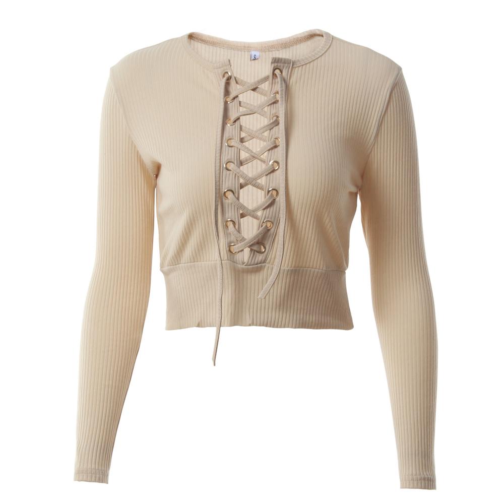 Nadafair Long Sleeve Laced Up Criss Cross Short T Shirt White Black Grey Khaki Casual Women Crop Top 5