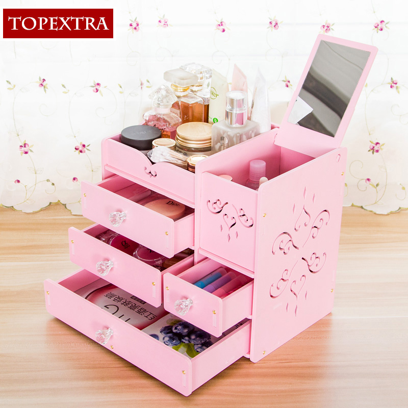 Pink Storage Bins Girls Flower Drawers Chest Dresser: TOPEXTRA Large DIY Flower MakeUp Jewelry Cosmetic Dresser