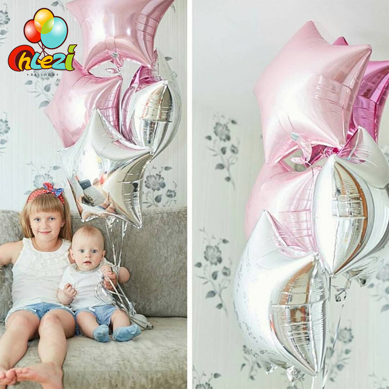 10pcs Baby Shower balloons 18 inch pink sliver star helium foil Balloons Girls boy Birthday 1st Party Supplies Decor Pure color