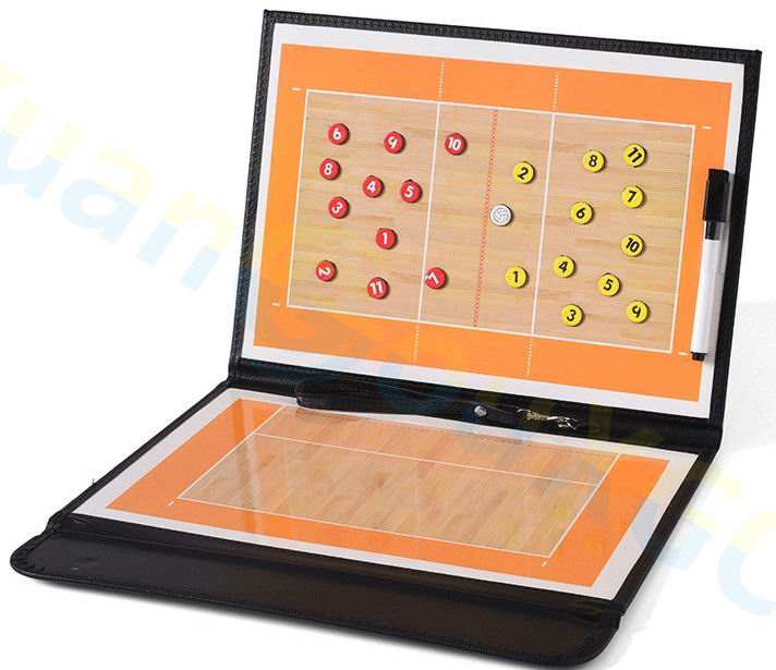 1set Volleyball Coach Match Training Tactical Plate Coaching Board Kits Magnetic Chess Pieces Foldable Coach Board PU Cover
