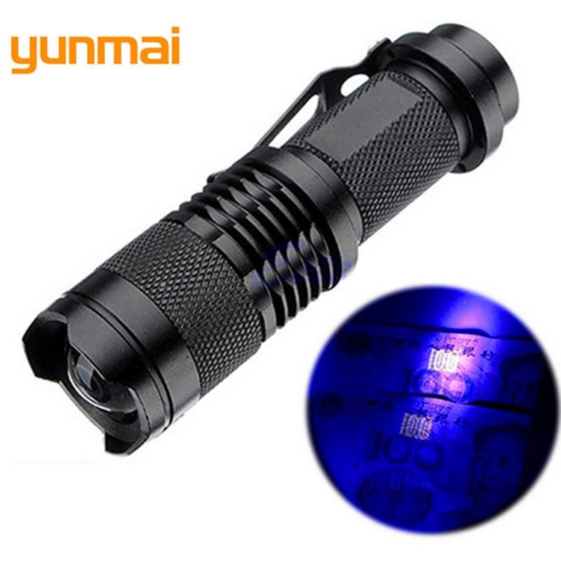 Yunmai Q5  LED Flashlight 395 Lumens Zoomable Focus Torch Invisible Blacklight Ink Marker LED UV Flashlight Use AA Battery B29