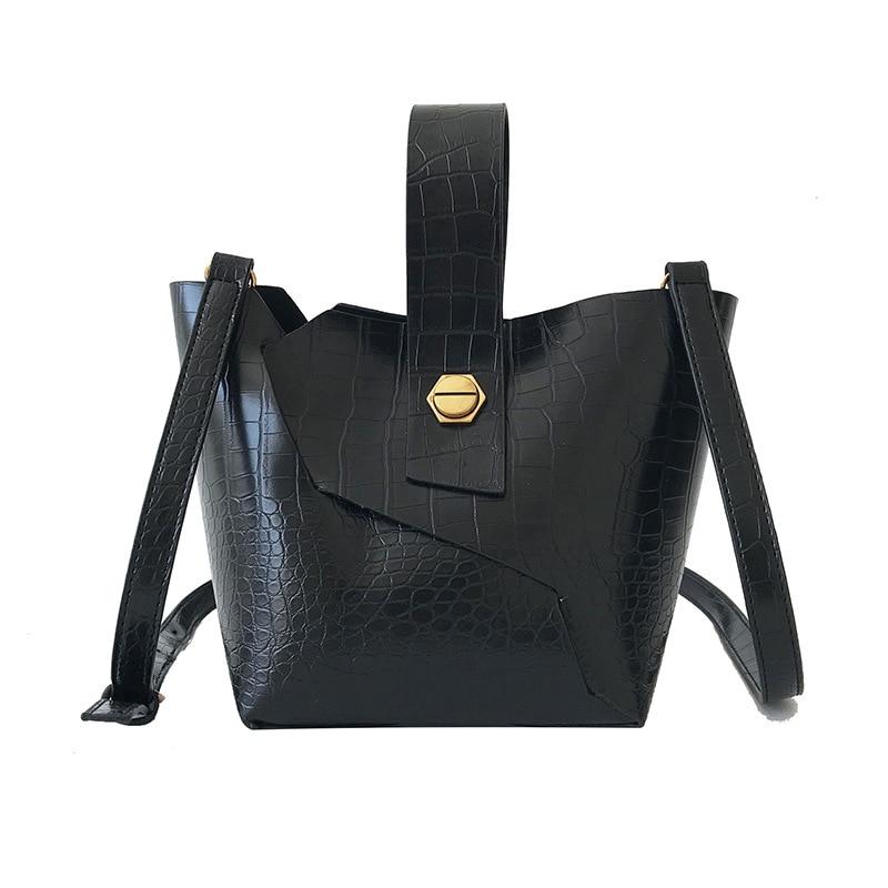 2 Pcs/Set Crocodile Pattern Bucket Bags For Women  Female PU Leather Small Crossbody Bags Ladies Handbags And Purse