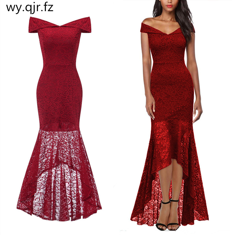 OML533J#Fishtail wine red lace   evening     Dresses   long Blue pink Christmas party   dress   prom gown women's fashion wholesale Clothing