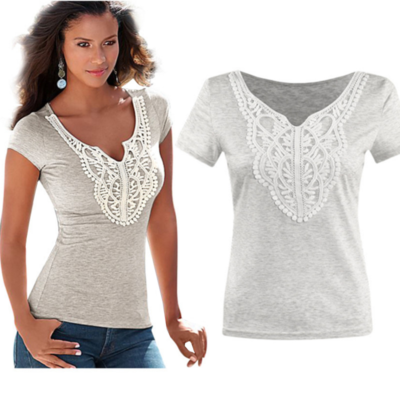 2017 women summer fashion top tees female lace casual t for Best dress shirts 2017