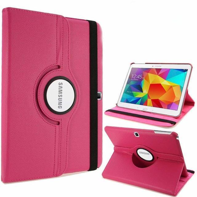 360 grados de rotación PU cuero Flip caso de la cubierta para Samsung Galaxy Tab 4 10,1 SM-T530 T531 T535 10,1 pulgadas Tablet inteligente cubierta