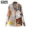Novo 2017 Moda Feminina Blusa Animal Print Tops Solto Manga Comprida Casual Camisa Do Vintage Turn-Down Collar Algodão Blusas