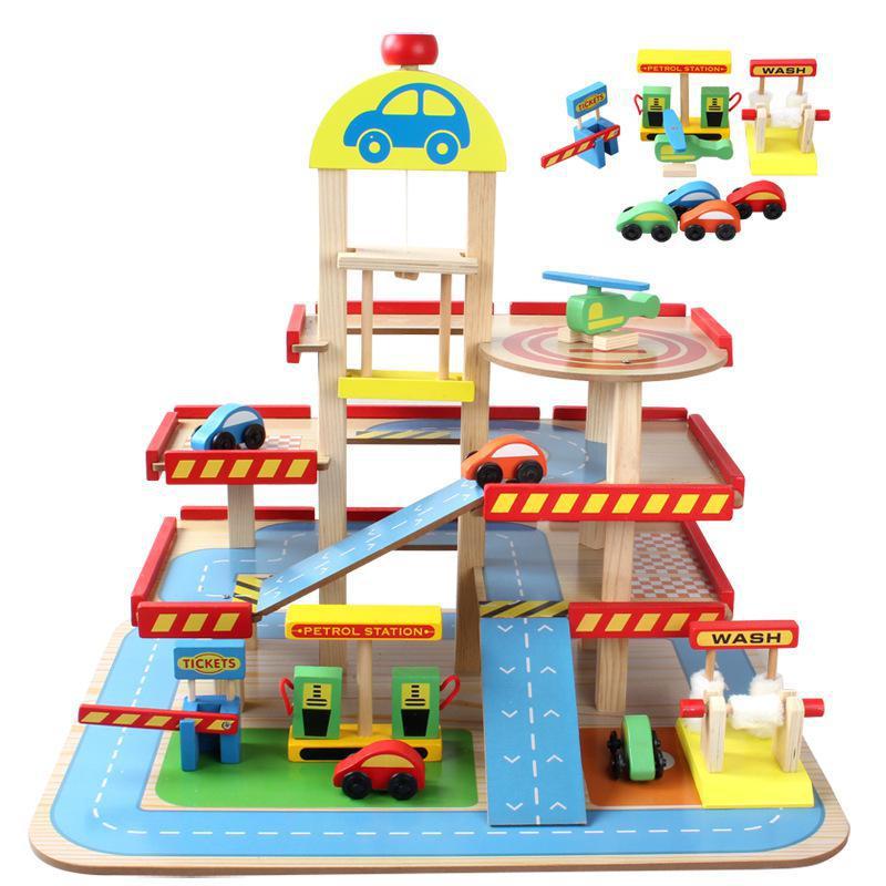 Modèles réduits véhicules jouets enfants toys train jouet modèle cars en bois puzzle bâtiment slot piste rail transit parking garage 018