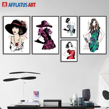 Model Fashion Girl Wall Art Canvas Painting Watercolor Nordic Posters And Prints Body Pictures For Living Room Decor