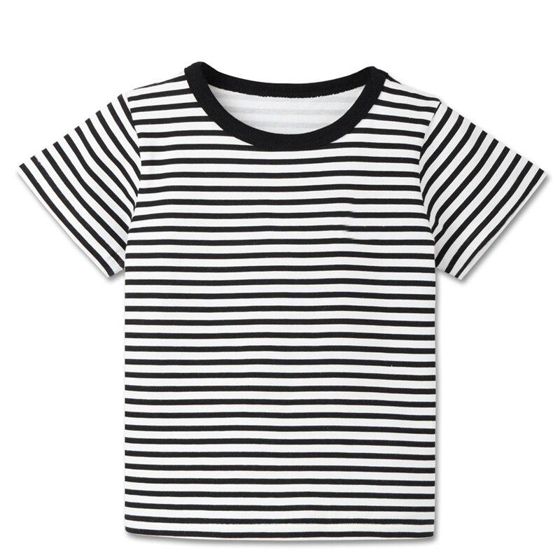 Детские летние футболки в полоску для мальчиков спортивные топы с короткими рукавами для маленьких мальчиков, футболки детская одежда для детей от 2 до 8 лет, новинка - Цвет: B