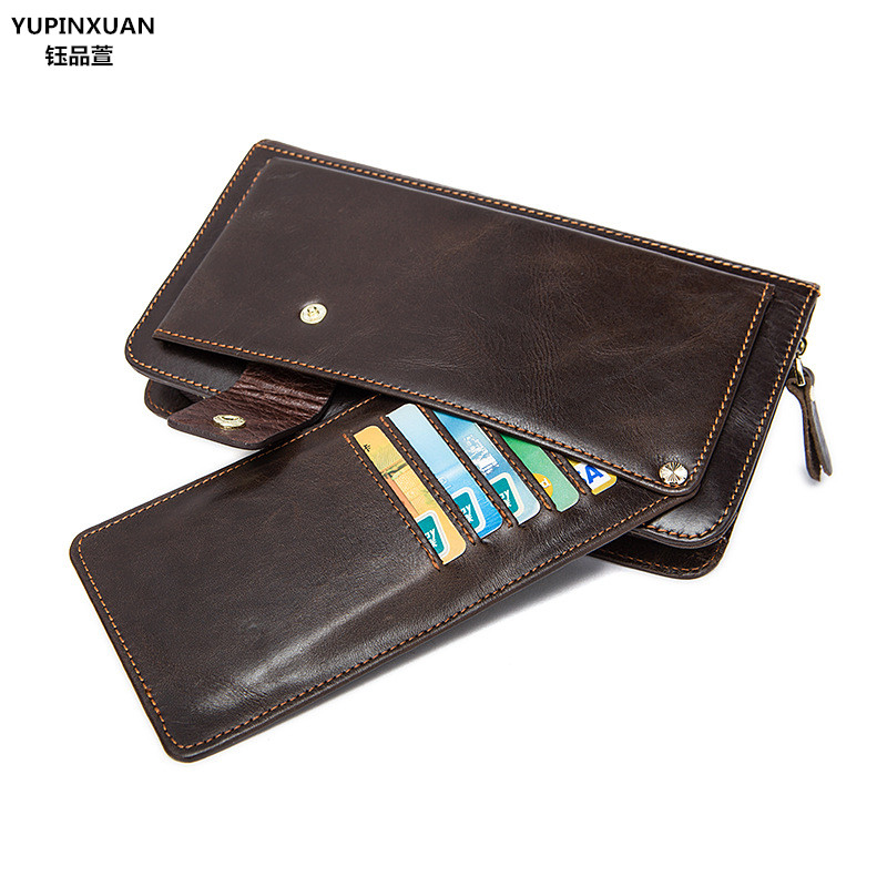 YUPINXUAN Genuine Cow Leather Men Wallet Stylish Coin Pocket Trifold Designer Men Purse High Quality Male Card ID Holder New