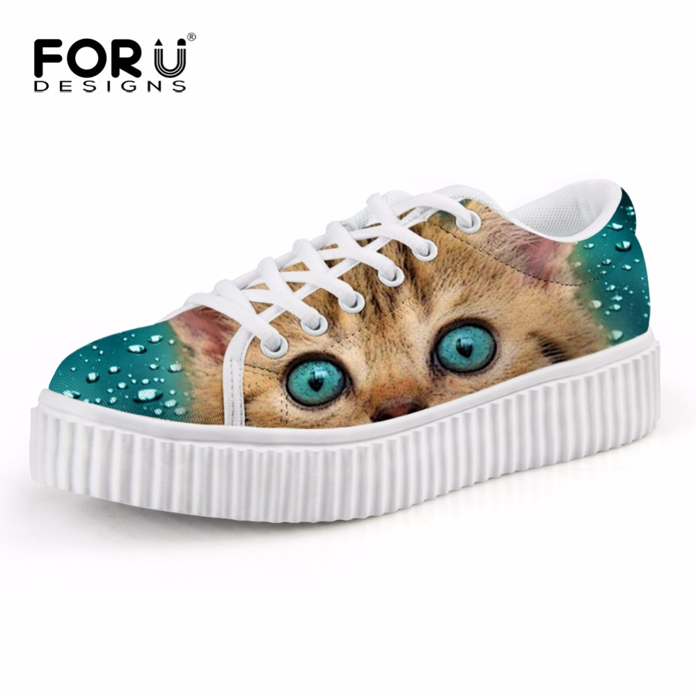 FORUDESIGNS 2017 Autumn Women Flat Shoes Cute Animal Cat Creepers Female Lace-up Shoes Casual Woman Flats Platform Comfort Shoes forudesigns cute animal dog cat printing air mesh flat shoes for women ladies summer casual light denim shoes female girls flats