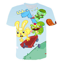 2019 Fashion New Harajuku Style Pullover Tees Men Women Casual T-Shirt Anime Happy Tree Friends 3D Print Tops Brand Clothing