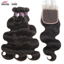 Ishow Body Wave Bundles With Closure 100% Human Hair Bundles With Closure Brazilian Hair Weave Bundles With Closure Non Remy(China)