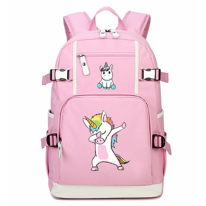 Unicorn girl backpack Funny Bags Dabbing Girl school bag student school bag Notebook backpack Daily backpack Pink Rucksack